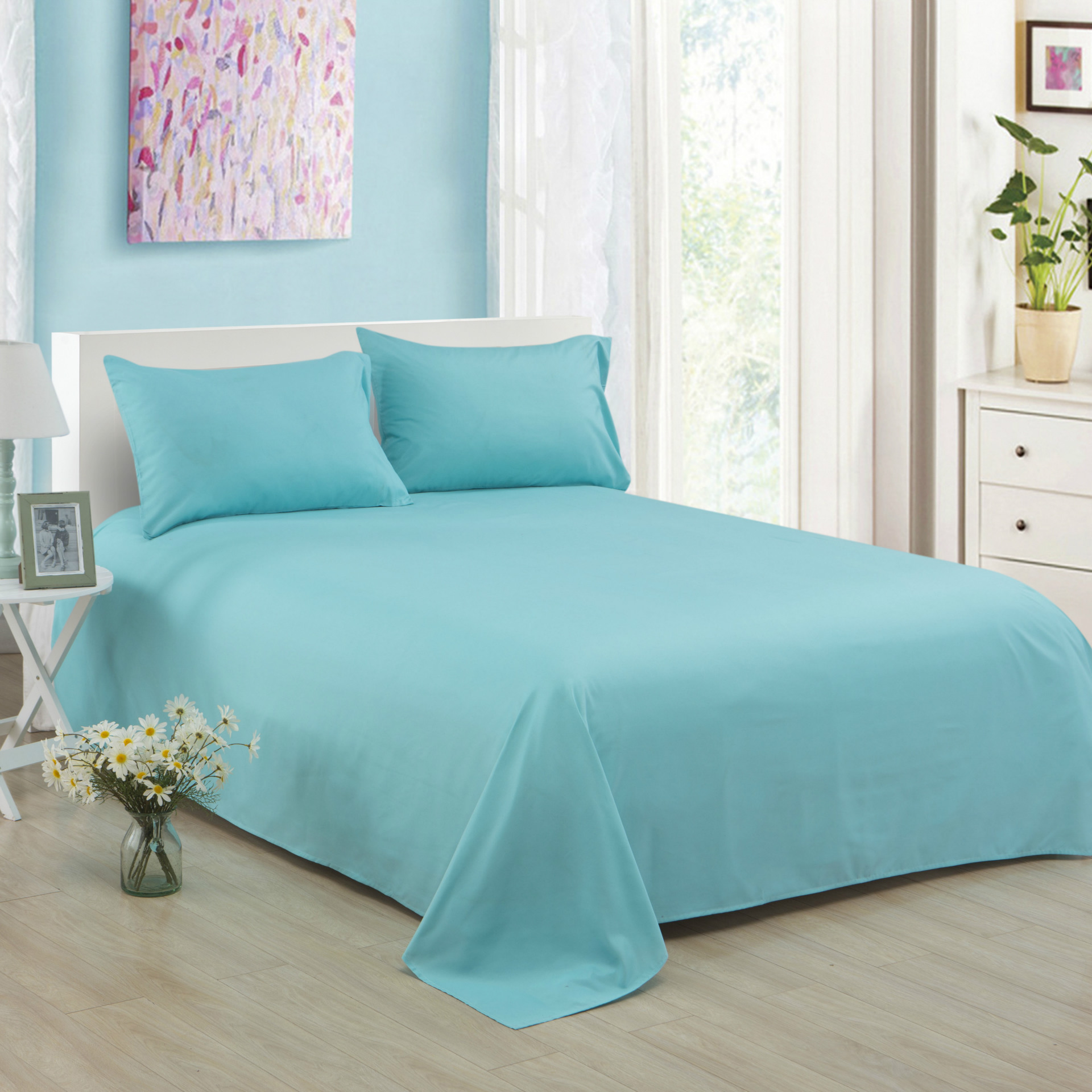 ropa de cama Solid color polyester cotton bed sheet hotel home soft brushed flat sheet queen bed cover not included pillowcase 6