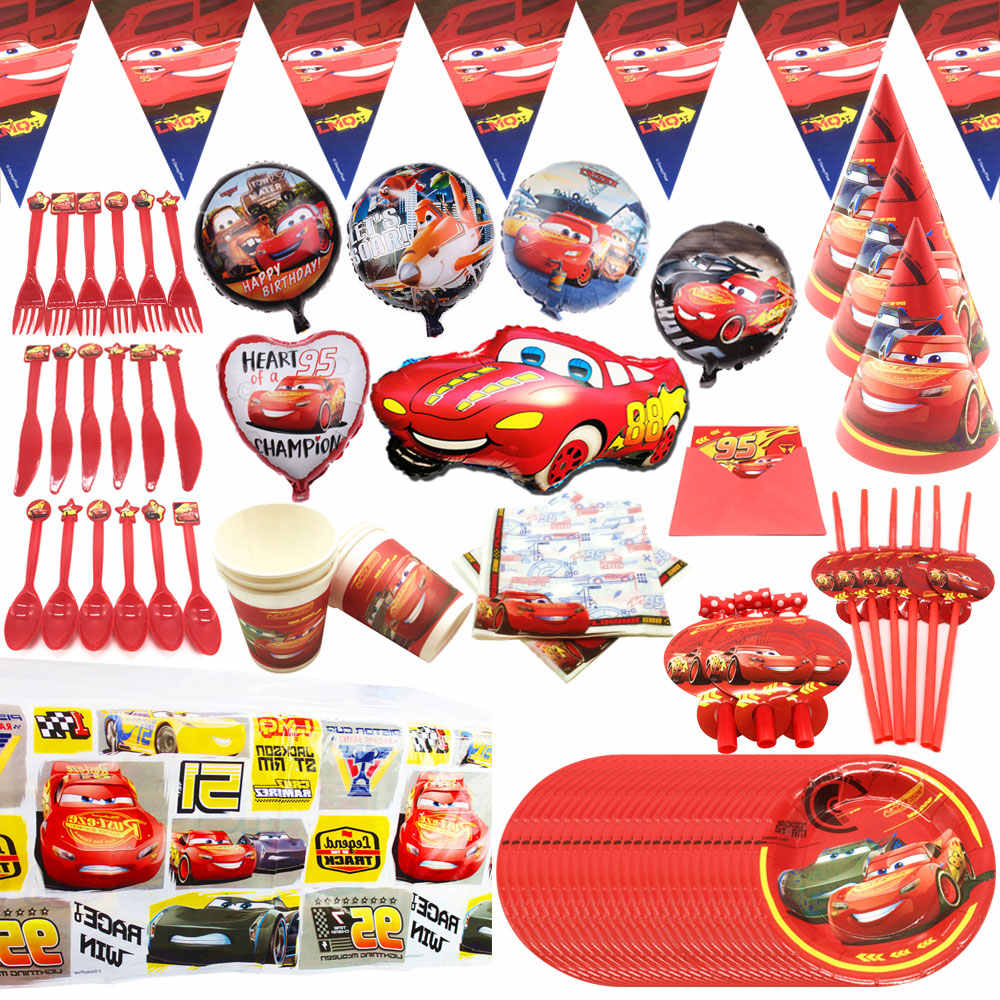 Disney Cars Lightning Mcqueen Baby Happy Birthday Party Supplies Decoration Set Disposable Tableware Tablecloth Plate Cup Banner Disposable Party Tableware Aliexpress