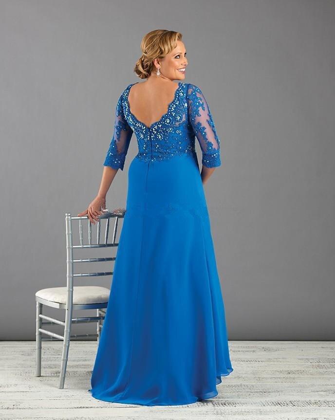 Blue 3/4 sleeve V-Neck vestido de madrinha crystal appliques Vestido Mae Da Noiva Plus Size New 2015 Mother Of Bride Dresses
