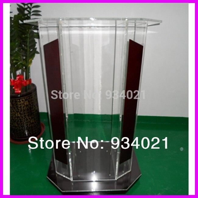 Clear Plexiglass Podium, Acrylic Wood Lectern, Church Podium