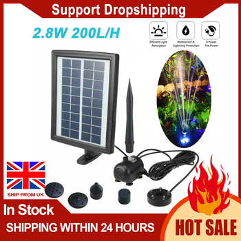 2.8 W LED Solar Water Pump Standing Submersible Water Fountain for Pond Pool Aquarium Fountains Spout Garden Patio
