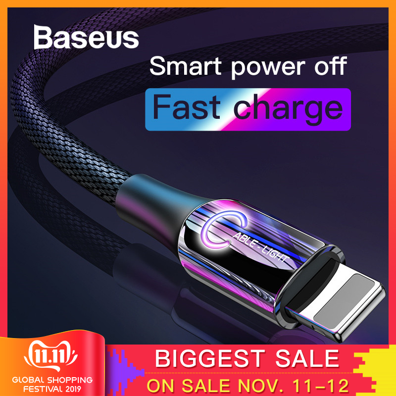 Baseus Smart Power Off USB Cable for iPhone XR Xs Max 11 Pro 8Plus 2.4A Fast Charging USB Charger Cable for iPhone LED Data Wire-in Mobile Phone Cables from Cellphones & Telecommunications on AliExpress - 11.11_Double 11_Singles' Day