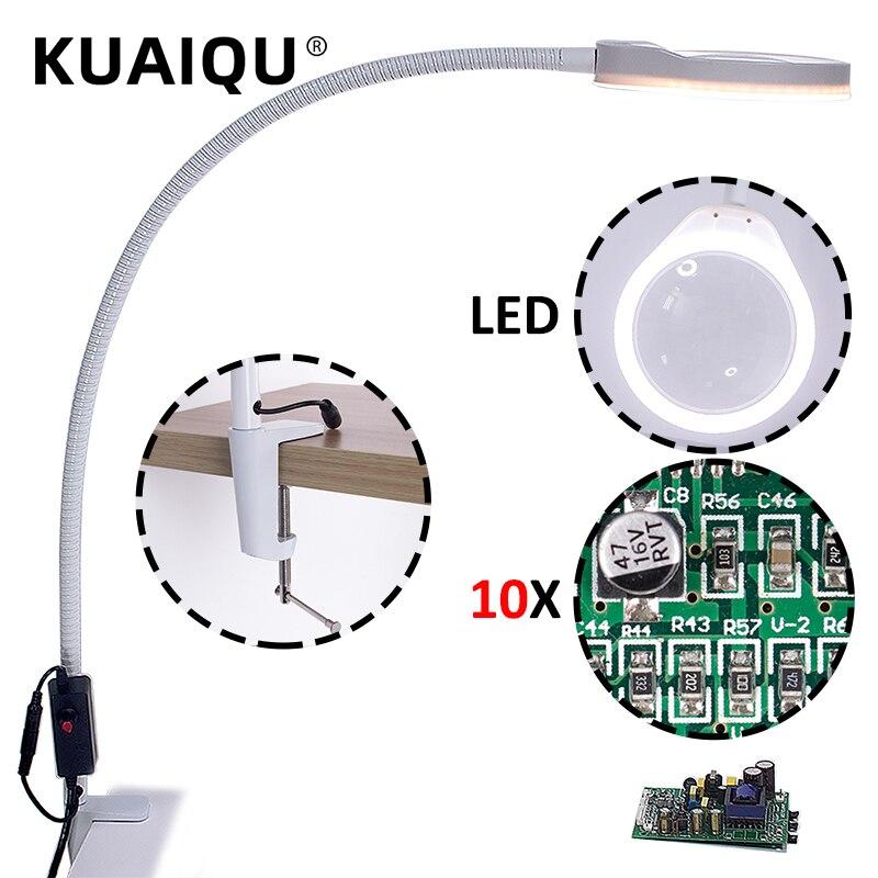 KUAIQU Desk Large Clip LED Magnifying Glass Illuminated Magnifier Lamp Loupe Reading Rework Soldering 3X 5X 8X 10X Lengthen Arms