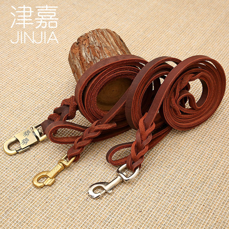 Tianjin Jia Pet Traction Rope Dog Oil Skin German Shepherd Greyhound Dog Chain Pet Traction Rope Leather Strap Hand Holding Rope