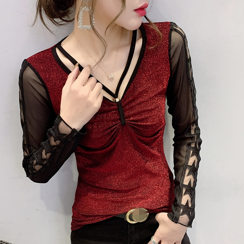 2020 New Spring Autumn Korean Clothes Sexy Patchwork Mesh Shiny T-shirt Women Tops Ropa Mujer Hollow Out Long Sleeve Tees T9D012
