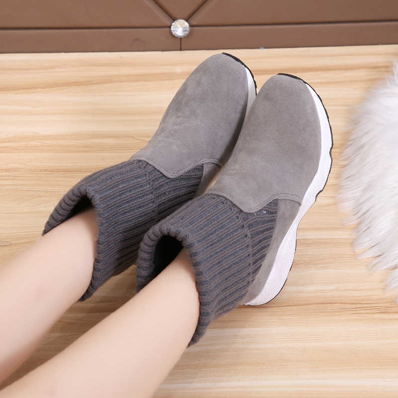 2020 Fashion breien Sokken Sneakers Stretch Enkellaarsjes Vrouw Zachte omgeslagen Sneeuw Schoenen Vrouwen Bont Pluche Platform Dikke botas