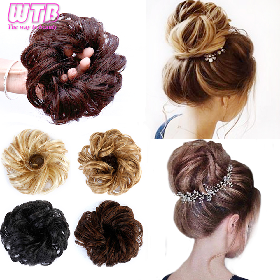 WTB Synthetic Curly Elastic Rubber Band Chignon Messy Bun Donut Hairpieces For Women And Kids Wrap On Ponytail Hair Extensions