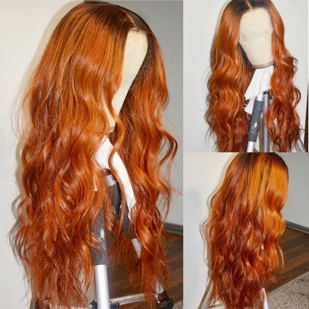 Ombre Orange Human Hair Wig Full Lace Wigs With Fake Scalp Natural Wave Soft Hair Bleached Knots Glueless Wig With Baby Hair