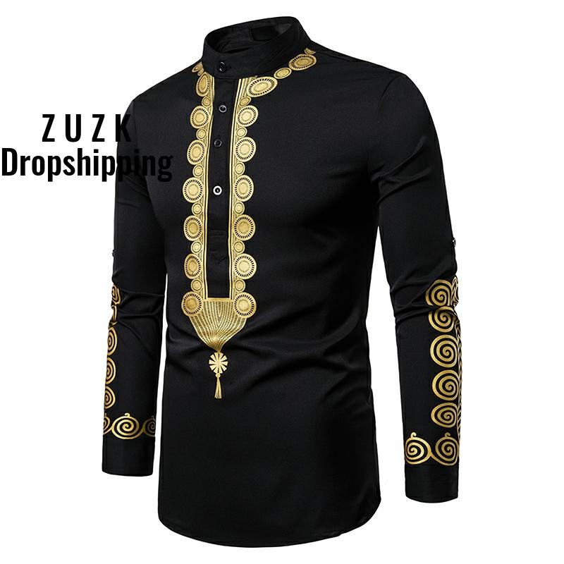 ZUZK Shirt Men Fashion Africa Clothing Pullovers African Dress Clothes Hip Hop Robe Africaine Casual World Apparel