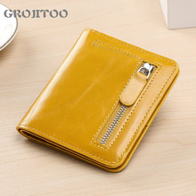 New genuine leather wallet Korean style short women's wallet fashion coin purse hipster wallet light and thin card bag