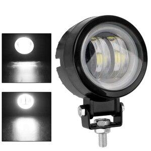 Image 2 - White/blue Motorcycle Offroad Truck Driving Car Boat Bar Lights Portable Spotlights 20W 12V 24V 6000K Waterproof Round LED Night