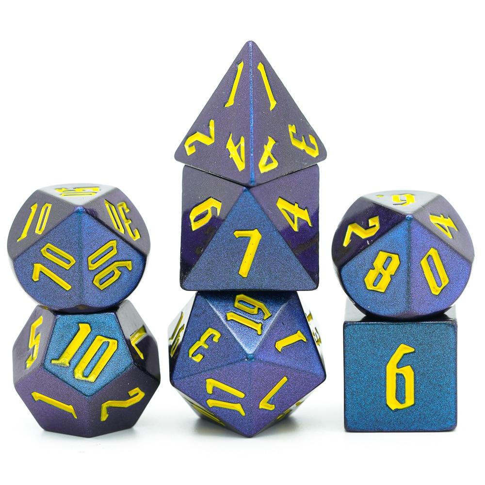 7pcs//set Dichromatic D4 D6 D8 D10 D12 D20 Polyhedral Dices Numbers Dials Desktop