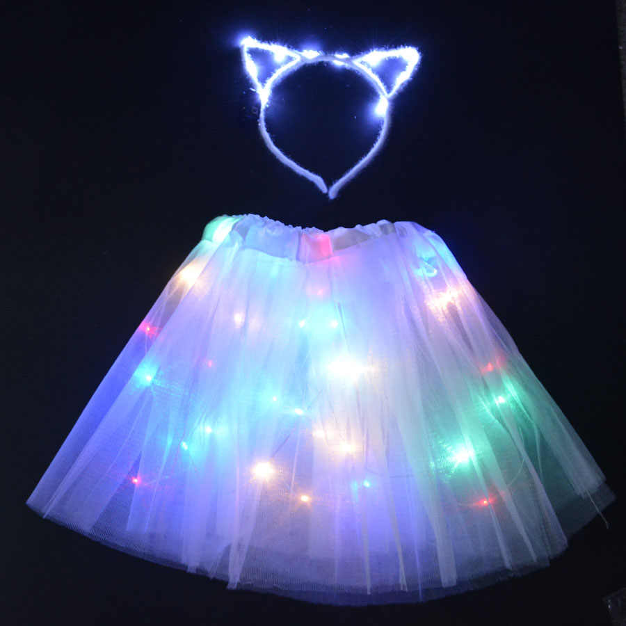 LED Glowing Light Kids Girls Princess Tutu Gaun Anak Pakaian Pesta Pernikahan Hiasan Kepala Ikat Kepala Mahkota Kostum Cosplay