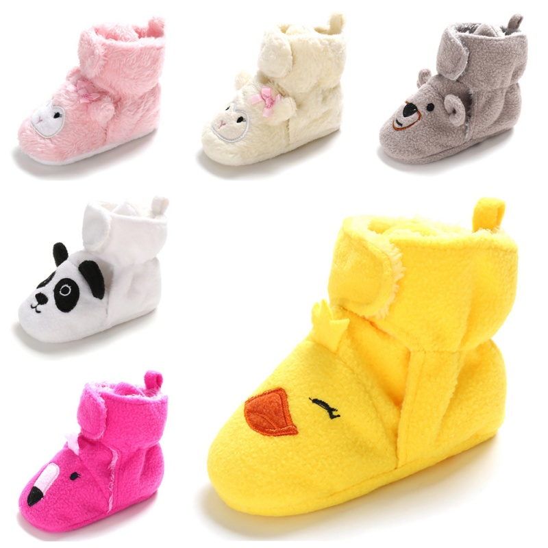 New Baby Toddler Boy Girl Cartoon Anti Slip Boots Warm Slippers Crib Shoes 0-18M