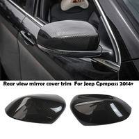 Carbon fiber Grian Rear view Mirror Cover Trim For Jeep Cherokee 2014 2019 Pair
