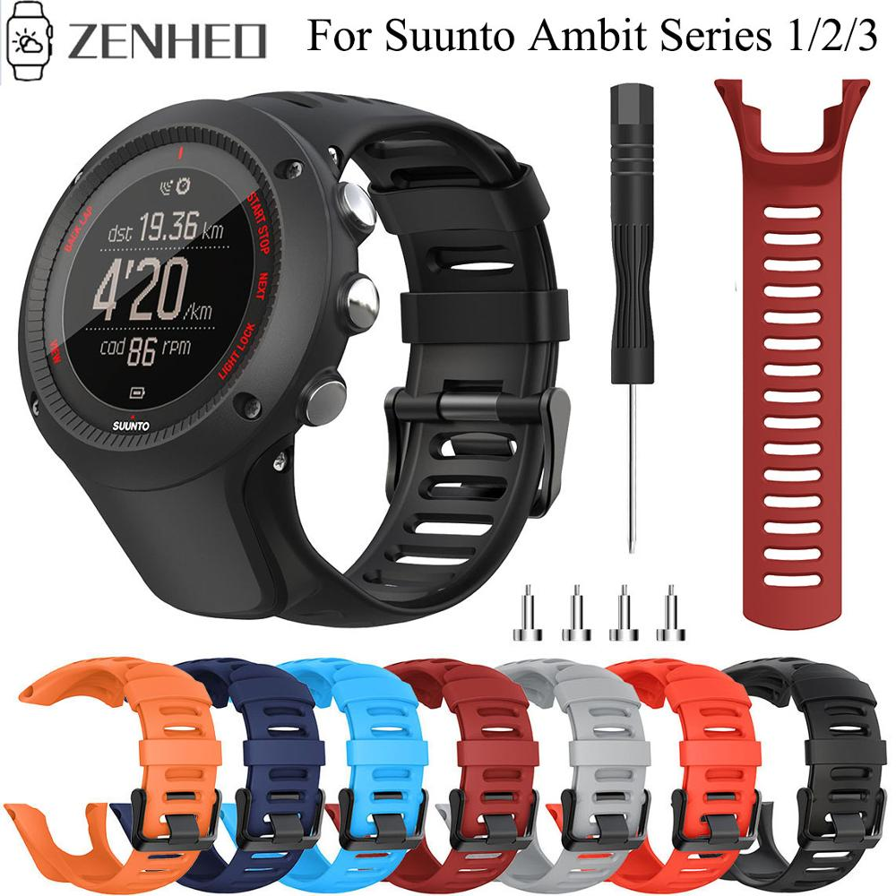 Replacement 24mm Silicone Strap For Suunto Ambit Series 1/2/3 Watchband Sport Watch Band