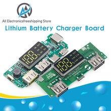 Placa de carregador de bateria de lítio led dupla usb 5v 2.4a micro/tipo-c usb mobile power bank 18650 módulo de carregamento proteção de circuito