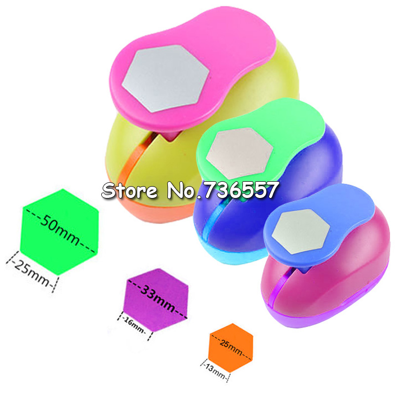 Free Ship  Hexagon Hole Punch Set Geometry Punch Craft Scrapbook Paper Puncher Graph Shaped Punches