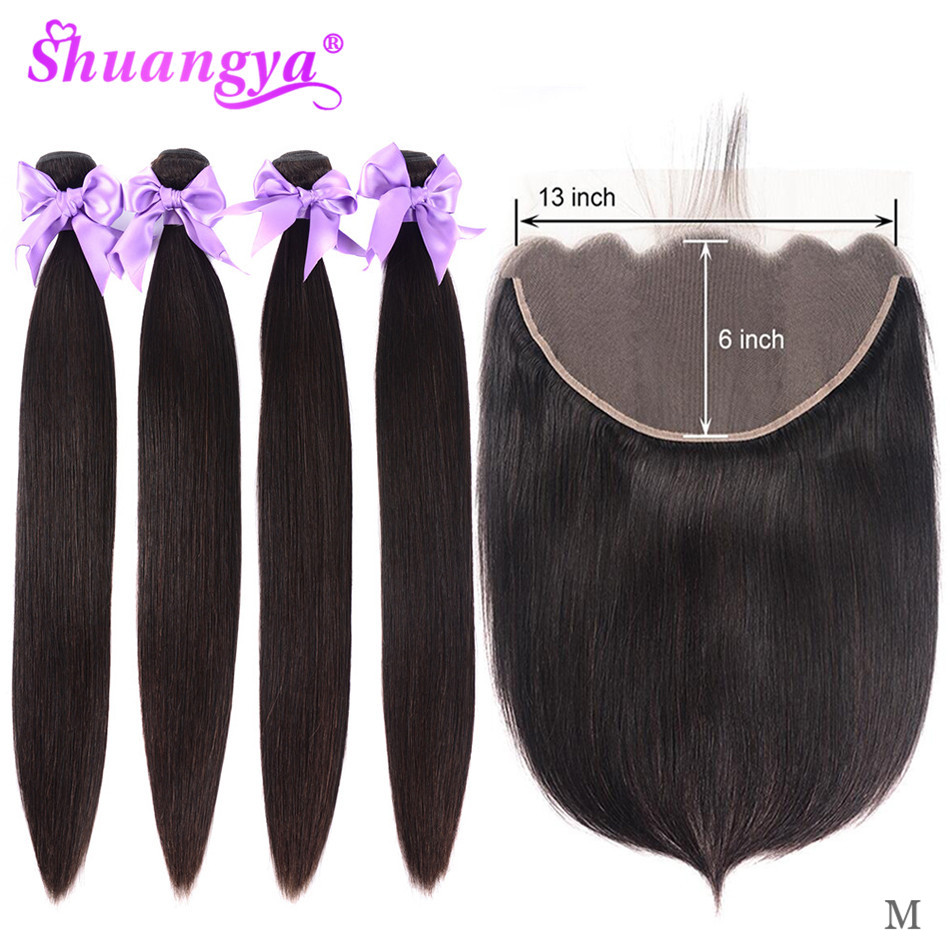 Shuangya Hair Straight Bundles 13x6 Lace Frontal With Bundles Remy Brazilian Hair Bundles With Frontal Human Hair Extensions