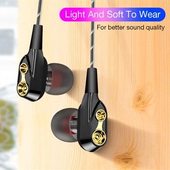 Dual Drive Stereo Wired earphone 3.5mm earphones In-Ear Sport Headset With Mic mini Earbuds Earphones For smart phone
