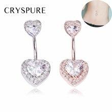 Женское кольцо для пупка из нержавеющей стали с кристаллами