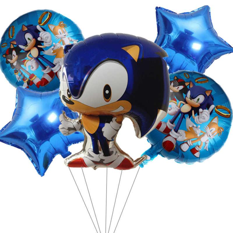 5Pcs Sonic Bal Ster Aluminium Film Ballon Set Egel Ballonnen Verjaardagsfeestje Decoratie Cartoon Dier Ballon Speelgoed Baby Shower