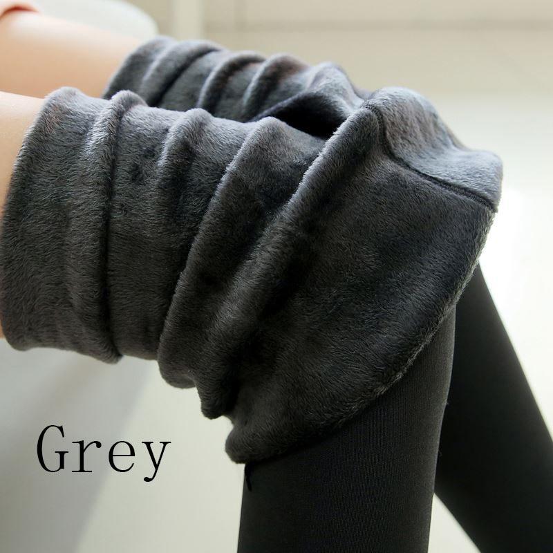 Новые модные женские осенне-зимние штаны высокого эластичности и хорошего качества, плотные бархатные штаны, новые теплые леггинсы Rooftrellen - Цвет: 88 grey