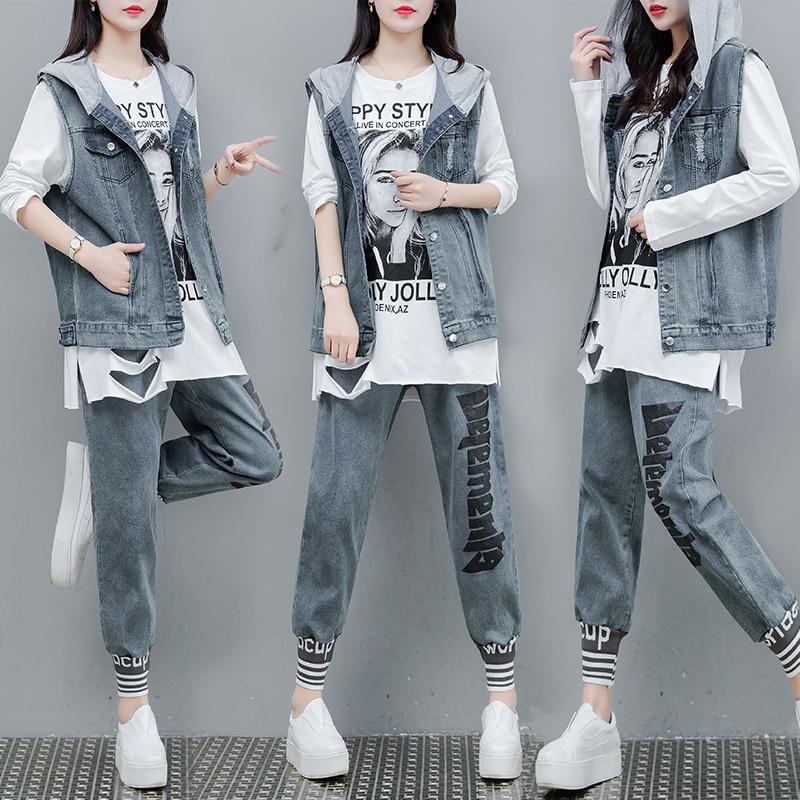 Tracksuit 3 Pieces Women Sets 2019 Spring Autumn Denim Set Women T-Shrit Vest Sweatshirts And Long Pants Sets Casual Ladies Suit