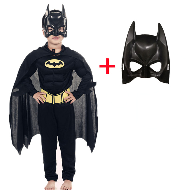 2019 Children Vampire Muscle Batman Costumes & Masks Cape Boy Girl Superhero Cosplay Halloween Masquerade Party Superman Costume