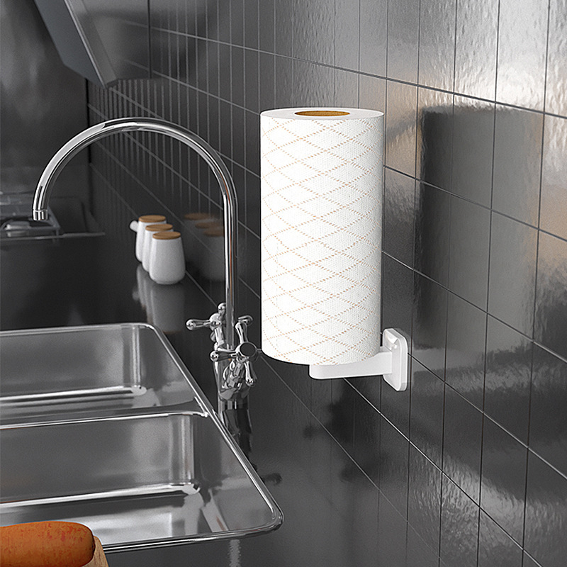 Self-adhesive Vertical Paper Towel Holder Wall-mounted Plastic Bathroom Roll Tissue Storage Rack