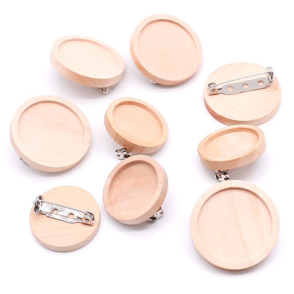 10pcs/lot Blank Wood Cabochon Brooch Base Settings 20 25 30 40mm Dia Round Bezel Tray Diy Brooches Pin Backs For Jewelry Making