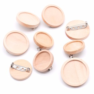 10pcs/lot Blank Wood Cabochon Brooch Base Settings 20 25 30 40mm Dia Round Bezel Tray Diy Brooches Pin Backs for Jewelry Making(China)