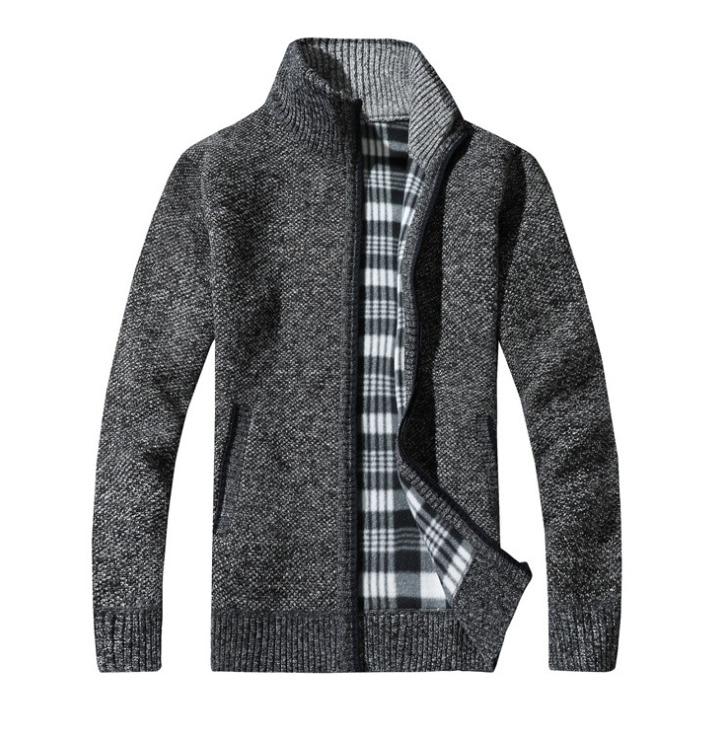 New Fashion Men's Knitted Cardigan Sweater Coat Fleece Lined Winter Warm Plain Jacket Fleece Tactical Hoodie Coats Outwear