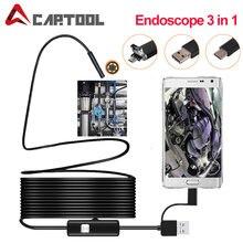 Cámara endoscópica de 1M 3 en 1, 2M, 5M, 5,5mm, 7mm, IP67, impermeable, 6 LED, boroscopio, cámara de inspección para automóviles para Android/tipo-c Loptop