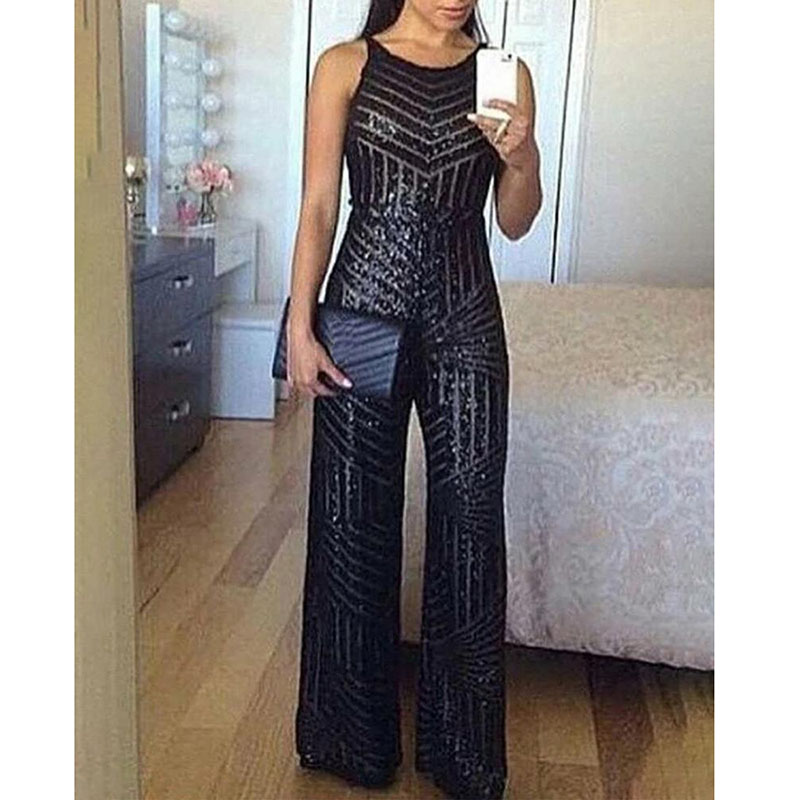 Sleeveless Wide Leg Jumpsuit For Women Elegant Glitter Round Neck Sleeveless Sequins Jumpsuit Sexy Night Club Party Overalls