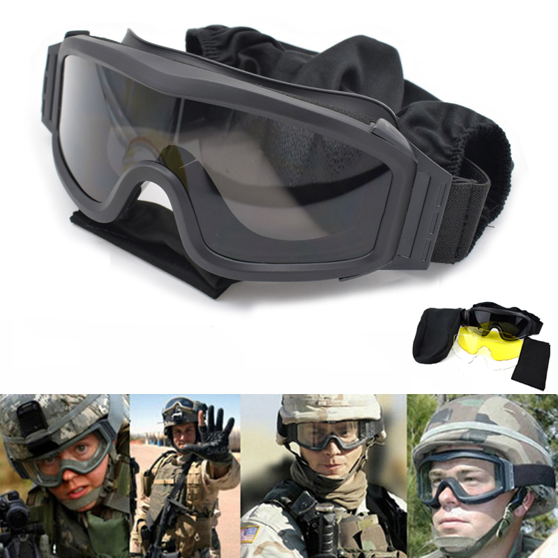Military Goggles USMC Shooting Glasses Tactical Glasses Airsoft Hunting Safety Goggles Sport UV400 Protection Sunglasses 3 Lens