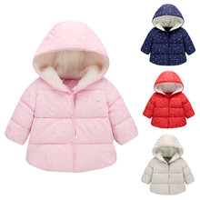 New Kids Coats Winter Overalls For Girls Children Outerwear winter Hooded Winter Jacket Fashion Kids Star Coat Baby Girl Clothes цена и фото