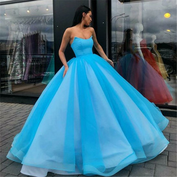 Candy Color Tulle Ball Gown Coral Long Evening Dress Royal Blue Vestido De Festa Off The Shoulder Cheap Formal 2020 - discount item  38% OFF Special Occasion Dresses