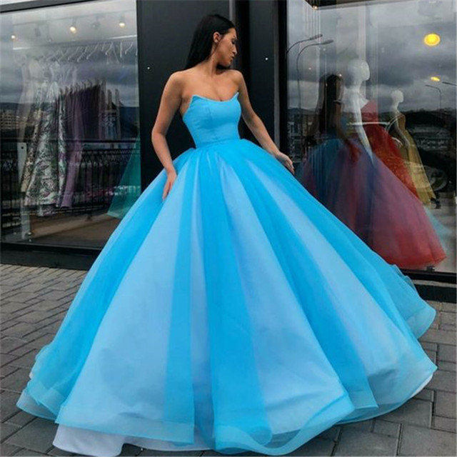 Candy Color Tulle Ball Gown Coral Long Evening Dress Royal Blue Vestido De Festa Off The Shoulder Cheap Formal Evening Gown 2020