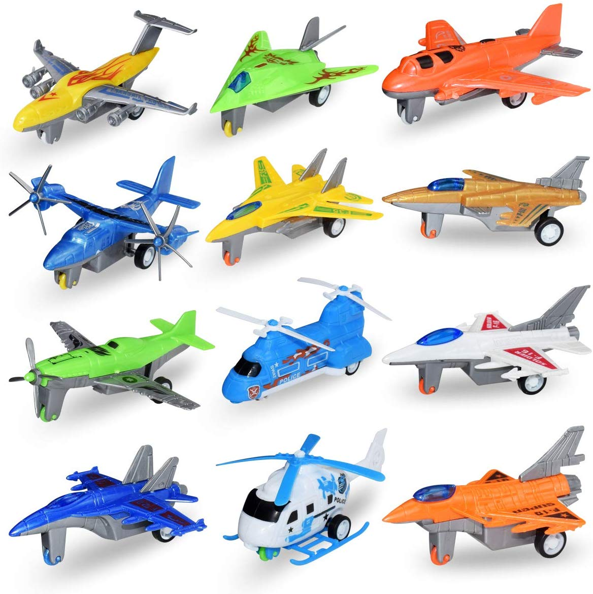 12pcs/lot Pull Back Airplanes Vehicle Playset For Kids Pullback Plane Toy Funny Aircraft Early Education Toys For Children