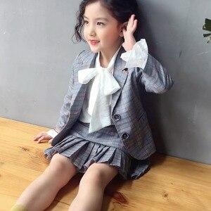 Image 3 - Elegancki 2 sztuk zestaw ubrań dla dużych dziewczynek jesień wiosna mundurek szkolny nastolatek Blazer garnitur kobiet dziecko uczeń kostium 8 10 12 lat