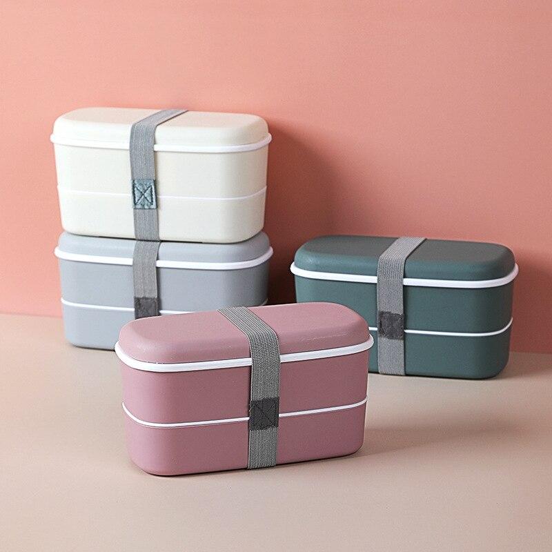 Двухслойный Ланч-бокс, Ланч-бокс из полезного материала, контейнер для хранения пищи, коробка для сохранения свежести, Ланч-бокс для микрово...
