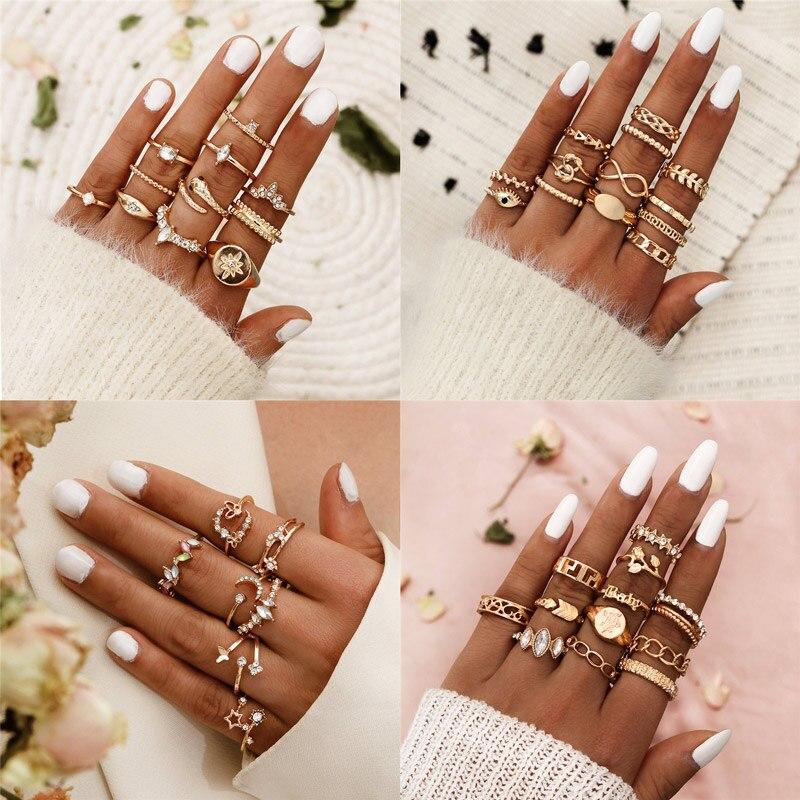 Набор Колец Modyle для женщин в винтажном стиле, кольцо с кристаллами в стиле панк золотого и серебряного цвета, вечернее Ювелирное Украшение в...