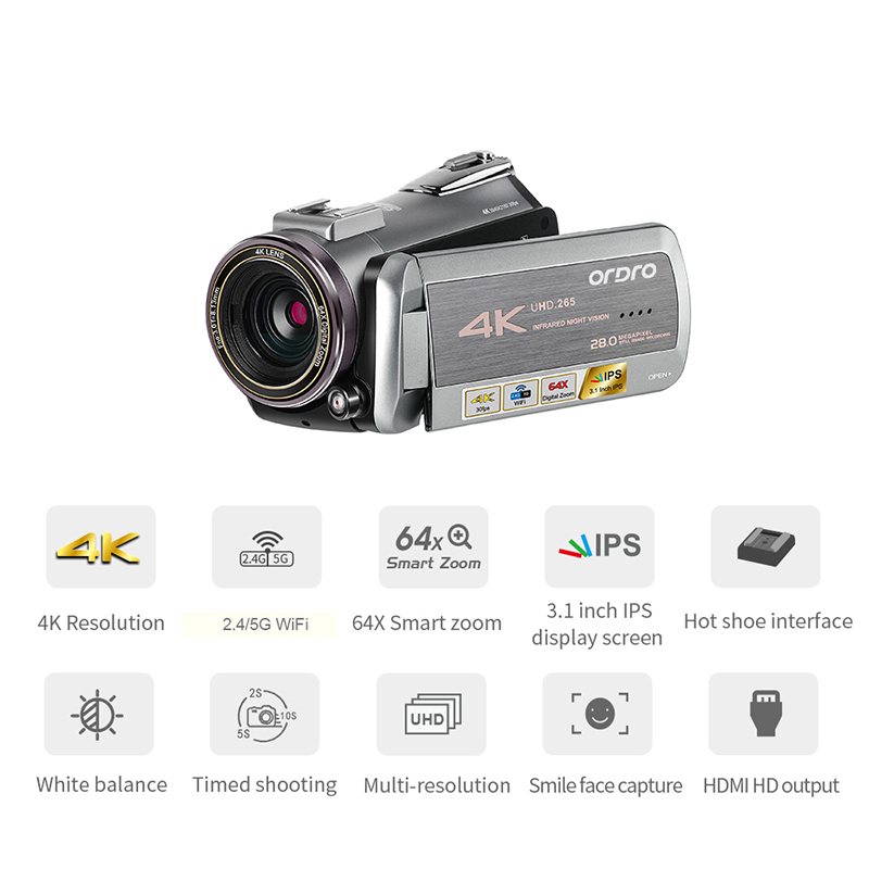 Digital Professional Video Camera Real 4K Wifi 64X Digital Zoom 30FPS Night Vision Camcorder ORDRO AZ50 For Live Broadcast image