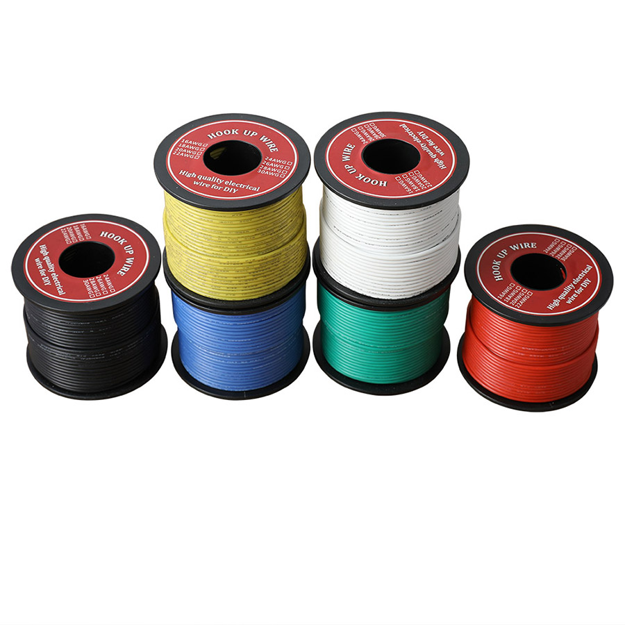 60m/lot 196ft Hook-up Stranded Wire 22 AWG UL3132 Flexible Silicone Electrical Wire Rubber Insulated Tinned Copper 300V 6 Colors
