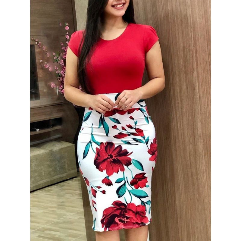 Hot Sale Summer Vestido Party Dress Sexy Hip Plus Size Slim Flower Printed Short-Sleeved Mini Dress for women