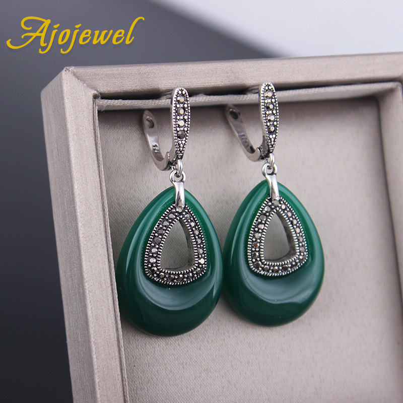 Ajojewel Perhiasan Vintage CZ Hijau Resin Big Water Drop Earrings - Perhiasan fashion - Foto 5