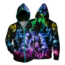2019 new women hoodies zipper sweatshirt men's hoodies long sleeve hooded tops 3d Printed coat Fluorescent night casual couple