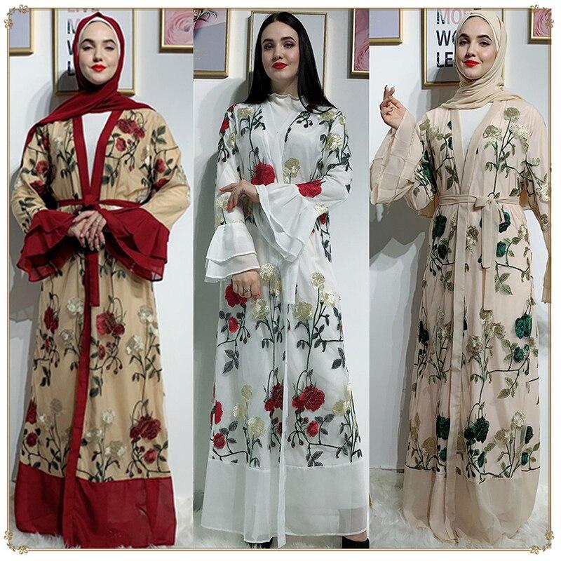 Embroidery Open Abaya Kimono Turkish Hijab Muslim Dress Islamic Clothing Abayas For Women Caftan Dubai Moroccan Kaftan Djelaba