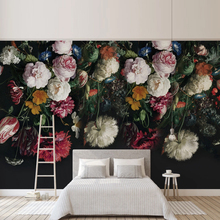 Customize Any Size 3D Wall Mural Wallpaper Painting Rural Style Retro Hand Painted Floral Flowers Living Room Sofa Bedroom Decor